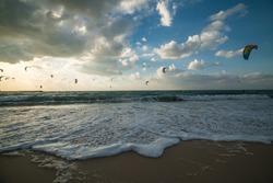 Kite Beach Dubai UAE sunset waves