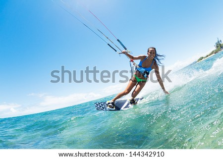 Kite Boarding Fun in the ocean Extreme Sport