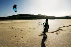 kite surf  in beach sand in atlantic coast