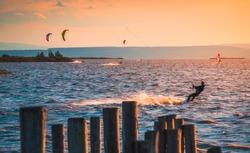 Kite Surfer at Neusiedl Lake in Podersdorf, Austria at Sunset
