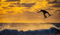 Kite surfer at sunset in Scheveningen Den Haag the Netherlands