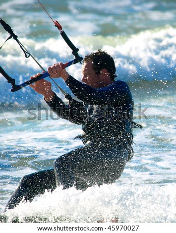 Kite Surfer in the waves