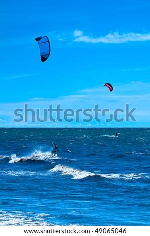 Kite-Surfer near Dueodde, island Bornholm, Denmark