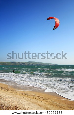 kite-surfer on the waves