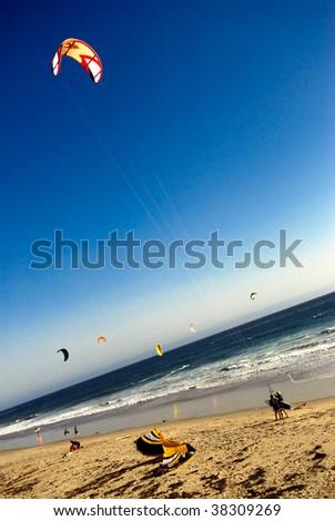 Kite Surfers on a beach in california