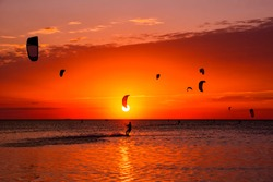 Kite-surfing against a beautiful sunset. Many silhouettes of kites in the sky. Holidays on nature. Artistic picture. Beauty world