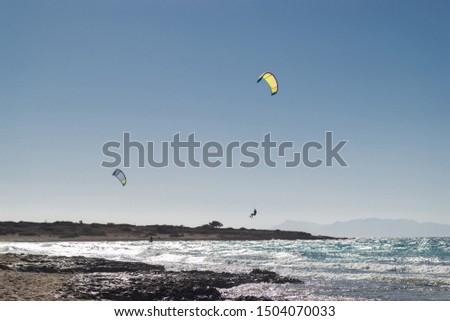 Kite surfing at Belegrina Beach, Chrissi island, Ierapetra