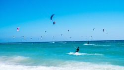 Kite surfing beach in southern Spain