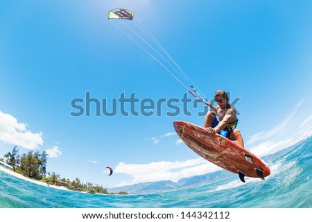 Kite Surfing Fun in the Ocean Extreme Sport