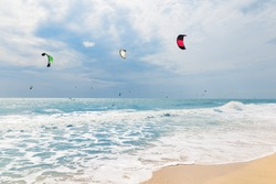 Kite surfing in waves, Mui Ne Beach, Vietnam, Asia