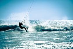 Kite surfing in waves. Splash