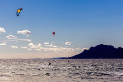 Kite  surfing on the French Riviera in Cannes