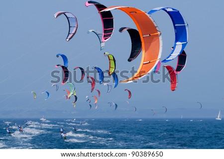 kite surfing  on the sea