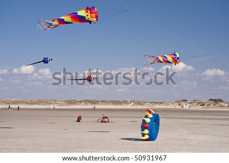 kites in st. peter-ording / germany - stock photo