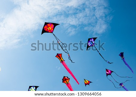 Kites with blue sky and white clouds ストックフォト ©