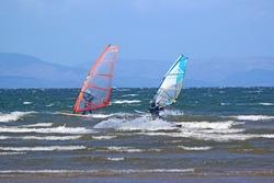 kitesurfer and windsurfers at Troon, Scotland