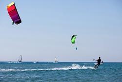 Kitesurfers  in sea. Greece.