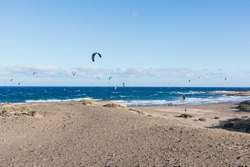 Kitesurfers on the beach of El Médano in Tenerife