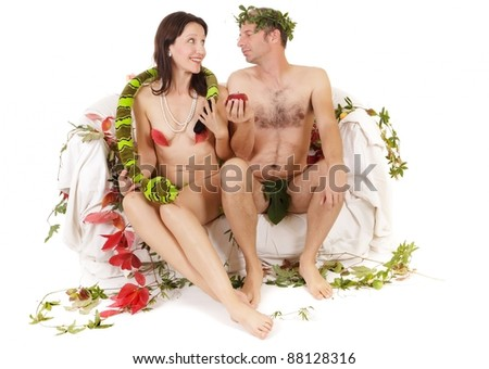 kitsch couple adam and eve seduction