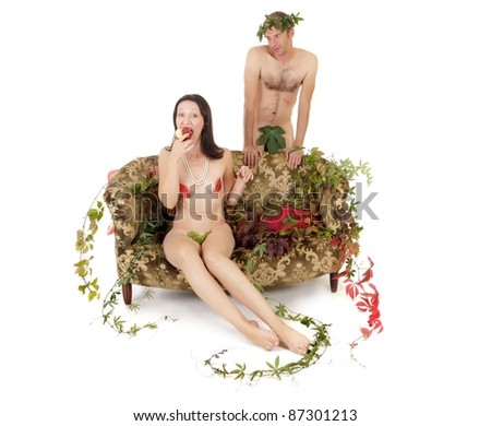 kitsch couple seduction on retro couch, original sin concept