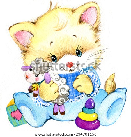 Kitten baby boy holiday greetings watercolor illustration ez canvas kitten baby boy holiday greetings watercolor illustration m4hsunfo