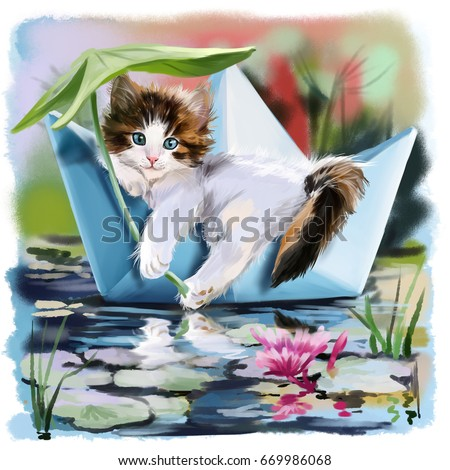 Kitten in a paper boat floating on the pond