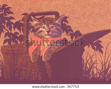 Kitten in Basket / DA-010