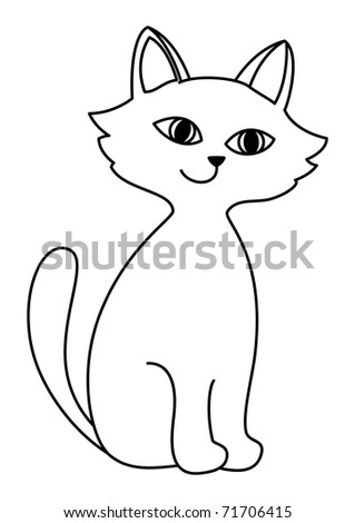 Kitten sits having lifted a tail and cheerfully tenderly smiling, contours