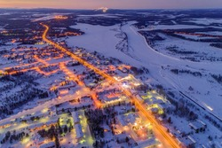 Kittila is a municipality of Finland and a popular holiday resort. Levi is ski resort in Finland. View from above