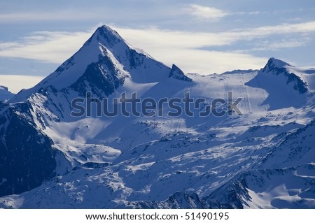 Alp Peak http://www.shutterstock.com/pic-51490195/stock-photo-kitzsteinhorn-peak-in-austrian-alps-mountain-range-in-winter-with-ski-slopes-of-kaprun-resort.html