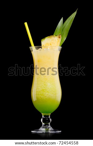 Kivi Pina colada drink  cocktail glass isolated on white background