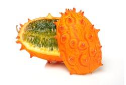 kiwano melon on white background