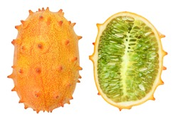Kiwano or horned melon and half isolated on white background. Top view. Flat lay