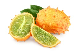 Kiwano or horned melon with leaf isolated on white background