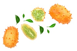 Kiwano or horned melon with leaves isolated on white background with copy space for your text. Top view. Flat lay.