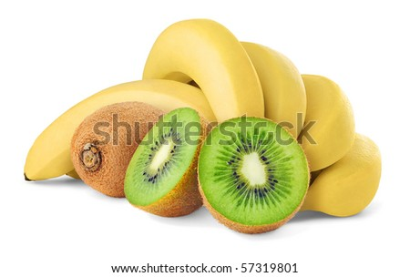 Kiwi and bananas isolated on white