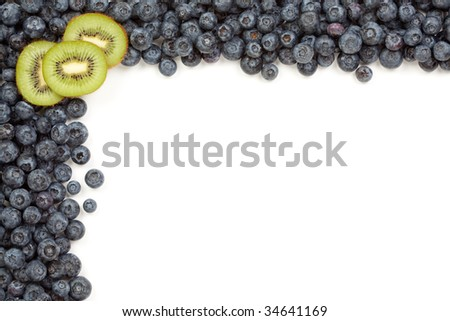 Kiwi and Blueberries Border Isolated on a White Background.