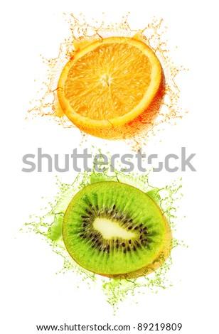 Kiwi and orange wet isolated on a white