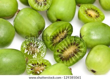 Kiwi berry (Actinidia arguta) is a small fruit resembling the kiwifruit, native to Japan, Korea, Northern China, and Russian Siberia.