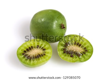 Kiwi berry (Actinidia arguta) is a small fruit resembling the kiwifruit, native to Japan, Korea, Northern China, and Russian Siberia.