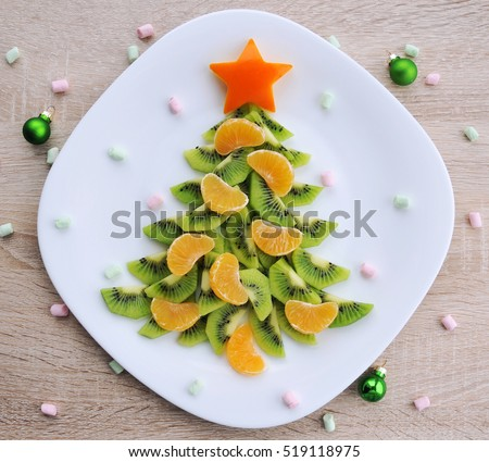 Kiwi Christmas tree - fun food idea for kids party, New Year food background