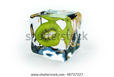 kiwi frozen in ice cubes