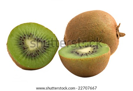Kiwi fruit and its sections isolated on white background
