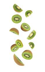 Kiwi fruit falling isolated on white background with clipping path
