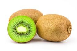 Kiwi Fruit half slices and full isolated on white background.