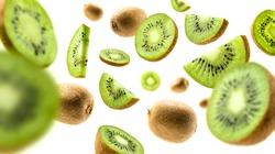 Kiwi fruit levitating on a white background