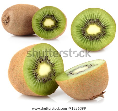 Kiwi fruit on a white background.