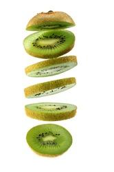 kiwi fruit ,Sliced kiwi isolated on white background. Levity fruit floating in the air