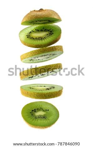 kiwi fruit ,Sliced kiwi isolated on white background. Levity fruit floating in the air #787846090