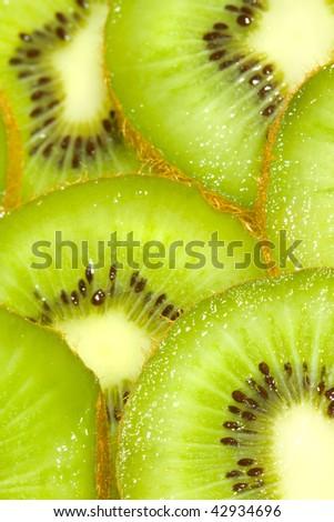 Kiwi fruit slices macro